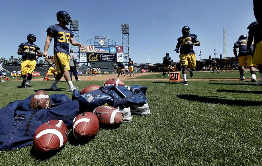 The California Golden Bears football team holds their first practice at AT&T Park, on Tuesday August 16, 2011, in San Francisco, Ca. AT&T Park will their home field while Memorial Stadium on the UC Berkeley campus is being rebuilt. Photo: Michael Macor, The Chronicle