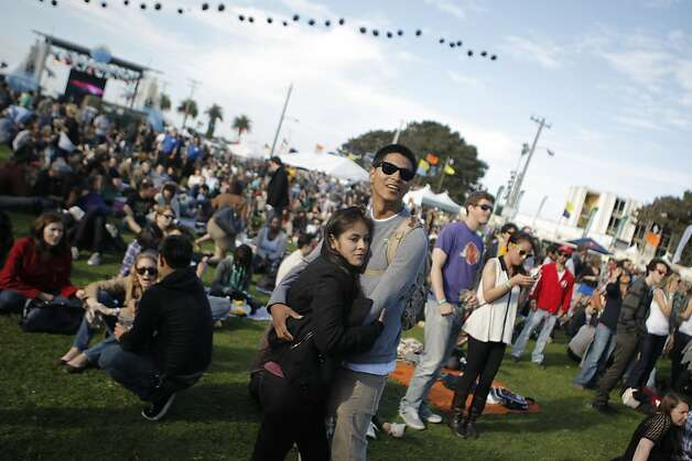 Concert goers watched the band Battles at the Treasure Island Music Festival in San Francisco, Calif., on Saturday, Oct. 15, 2011. Photo: Dylan Entelis, The Chronicle