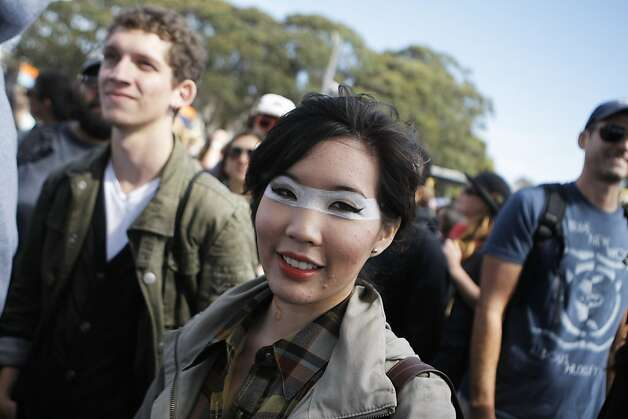 A young woman with impressive eye makeup waited for Aloe Blacc to perform at the Treasure Island Music Festival in San Francisco, Calif., on Saturday, Oct. 15, 2011. Photo: Dylan Entelis, The Chronicle