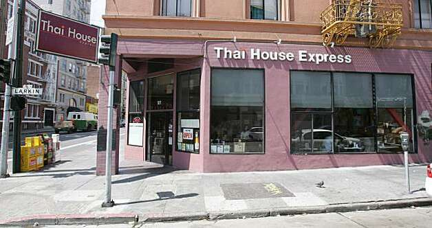 Thai House Express is the restaurant at 901 Larkin St. (at Geary St.) in the Tenderloin. The restaurant is open daily for lunch and dinner. 8/23/06 {Frederic Larson/The Chronicle}    Ran on: 08-25-2006 Thai House Express has two locations, at 901 Larkin St. in the Tenderloin (above), and in the Castro at 599 Castro St. Photo: Frederic Larson, SFC