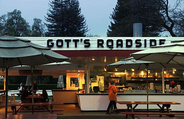 "Taylor's Refresher in St. Helena, Calif., has had a name change to Gott's Roadshide. This photo shows the much-beloved establishment on Monday, March 29, 2010, about a week after the name change took place. If Lloyd ""Popsy"" Taylor could see what the Gott brothers have done to his 1949 St. Helena drive-in he'd be rolling in his grave.This week, with much fanfare, Joel and Duncan Gott changedthe name of the landmark hamburger joint from Taylor's Refresher to Gott's Roadside Tray Gourmet. And the late Taylor's two daughters, Jean Taylor Nicholson, 83, and Virginia Taylor Toogood, 80, are furious. Photo: Carlos Avila Gonzalez, The Chronicle"