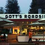 """Taylor's Refresher in St. Helena, Calif., has had a name change to Gott's Roadshide. This photo shows the much-beloved establishment on Monday, March 29, 2010, about a week after the name change took place. If Lloyd """"Popsy"""" Taylor could see what the Gott brothers have done to his 1949 St. Helena drive-in he'd be rolling in his grave.This week, with much fanfare, Joel and Duncan Gott changedthe name of the landmark hamburger joint from Taylor's Refresher to Gott's Roadside Tray Gourmet. And the late Taylor's two daughters, Jean Taylor Nicholson, 83, and Virginia Taylor Toogood, 80, are furious."""