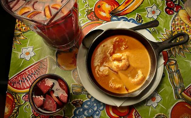 The Camarones Picante with Sangria at Cha Cha Cha Cuba restaurant in San Mateo, Calif., is seen on Friday, May 27th, 2011. Photo: John Storey, Special To The Chronicle