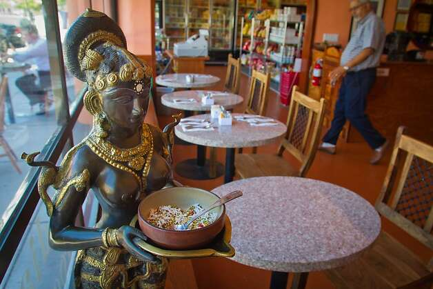 The interior of Lotus Chaat and Spices restaurant in San Rafael, Calif., is seen on August 3rd, 2011.  Ran on: 08-11-2011 Lotus Chaat in San Rafael is dedicated to Indian street food. Right: Papdi chaat are deep-fried, light-as-air flatbreads topped with potatoes, tangy yogurt and sweet-sour tamarind and mint sauces. Far right: Sambar vada are deep-fried, dense lentil balls in a bowl of hot sambar, a thick, mildly spicy vegetable stew. Ran on: 08-11-2011 Lotus Chaat in San Rafael is dedicated to Indian street food. Right: Papdi chaat are deep-fried, light-as-air flatbreads topped with potatoes, tangy yogurt and sweet-sour tamarind and mint sauces. Far right: Sambar vada are deep-fried, dense lentil balls in a bowl of hot sambar, a thick, mildly spicy vegetable stew. Photo: John Storey, Special To The Chronicle