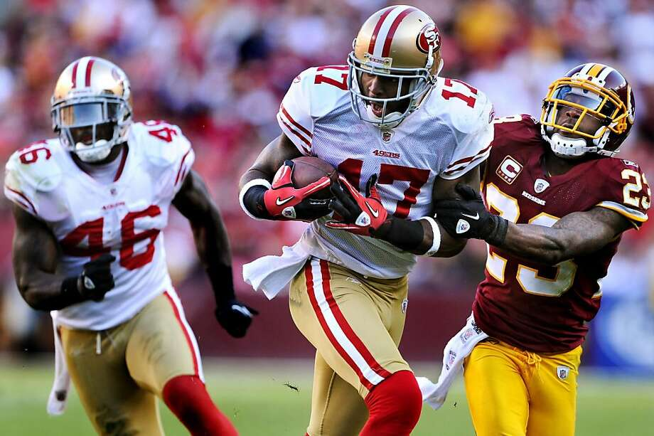 LANDOVER, MD - NOVEMBER 6: Wide receiver Braylon Edwards #17 of the San Francisco 49ers eludes cornerback DeAngelo Hall #23 of the Washington Redskins during the third quarter at FedExField on November 6, 2011 in Landover, Maryland. The San Francisco 49ers won, 19-11. (Photo by Patrick Smith/Getty Images) Ran on: 11-07-2011 Wide receiver Braylon Edwards says the 49ers' offense hasn't come close to reaching its peak efficiency. Ran on: 11-07-2011 Wide receiver Braylon Edwards says the 49ers' offense hasn't come close to reaching its peak efficiency. Photo: Patrick Smith, Getty Images