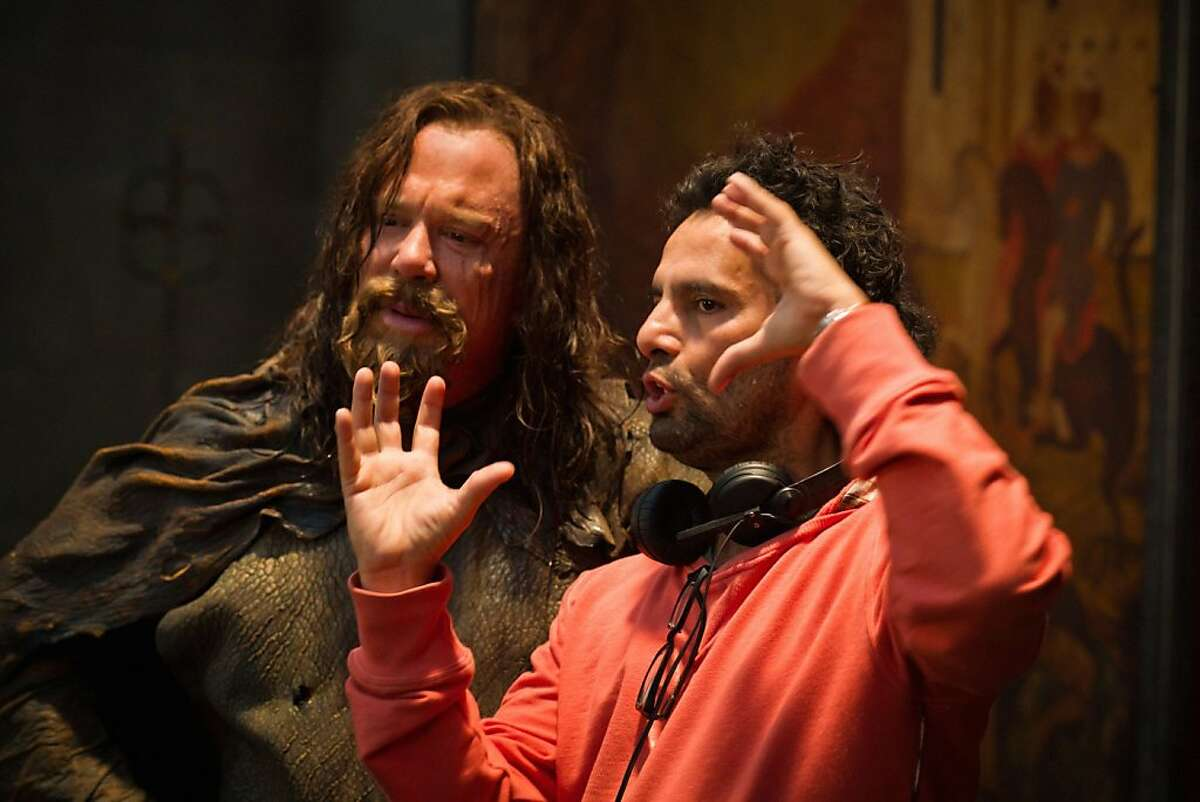 Mickey Rourke and director Tarsem Singh on the set of THE IMMORTALS