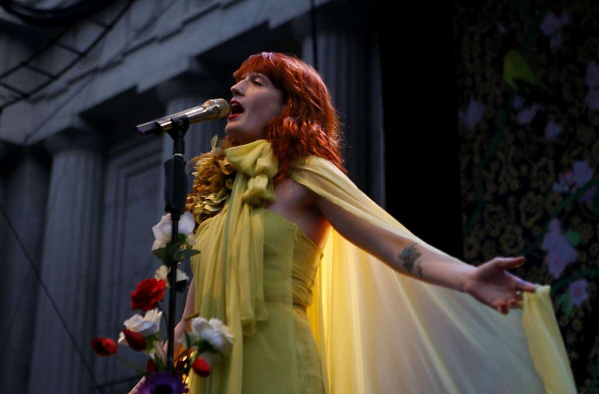 Florence and the Machine, the Grammy winning British singer-songwriter, plays her largest show yet at the Greek Theatre in Berkeley, Calif., on Sunday, June 12, 2011. Ran on: 06-14-2011 Florence Welch, the Grammy-nominated British leader of Florence and the Machine, performs a wailing set at the Greek Theatre in Berkeley.