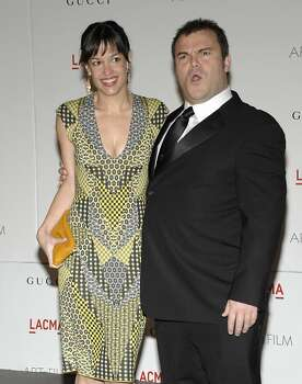 Actor Jack Black, right, and his wife Tanya Haden arrives at the inaugural LACMA Art + Film Gala in Los Angeles on Saturday, Nov. 5, 2011. (AP Photo/Dan Steinberg) Photo: Dan Steinberg, AP