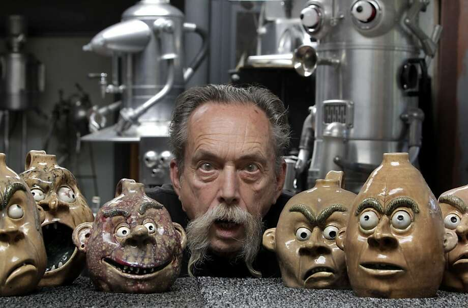 "Sculptor Clayton Bailey visits with some of his wacky clay creations at his home studio in Port Costa, Calif. on Wednesday, Sept. 28, 2011. A retrospective of his work, ""Clayton Bailey's World of Wonders"", will be displayed at Sacramento's Crocker Art Museum through Jan. 15, 2012. Photo: Paul Chinn, The Chronicle"