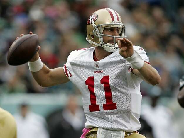 PHILADELPHIA, PA - OCTOBER 2: Quarterback Alex Smith #11 of the San Francisco 49ers looks to pass against the Philadelphia Eagles during the first half at Lincoln Financial Field on October 2, 2011 in Philadelphia, Pennsylvania. (Photo by Rich Schultz /Getty Images) Photo: Rich Schultz, Getty Images