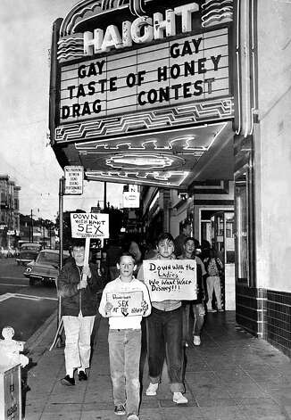 The Haight Theater in the Haight/Ashbury District is protested by children whose parents don't appreciate the gay cinema. Aug. 8, 1964. Photo: John McBride, The Chronicle