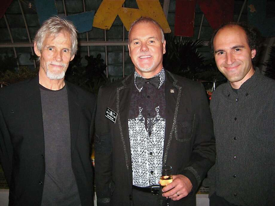 Playland exhibition artist James Sellier (at left) with Conservatory of Flowers Director Brent Dennis and sound artist Andrew Roth at the Green & Gold gala. Nov. 2011. By Catherine Bigelow. Photo: Catherine Bigelow, Special To The Chronicle