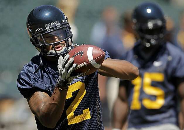 Defensive back, Coleman Edmond, (2) hauls in a pass, as the California Golden Bears football team holds their first practice at AT&T Park, on Tuesday August 16, 2011, in San Francisco, Ca. AT&T Park will their home field while Memorial Stadium on the UC Berkeley campus is being rebuilt. Photo: Michael Macor, The Chronicle