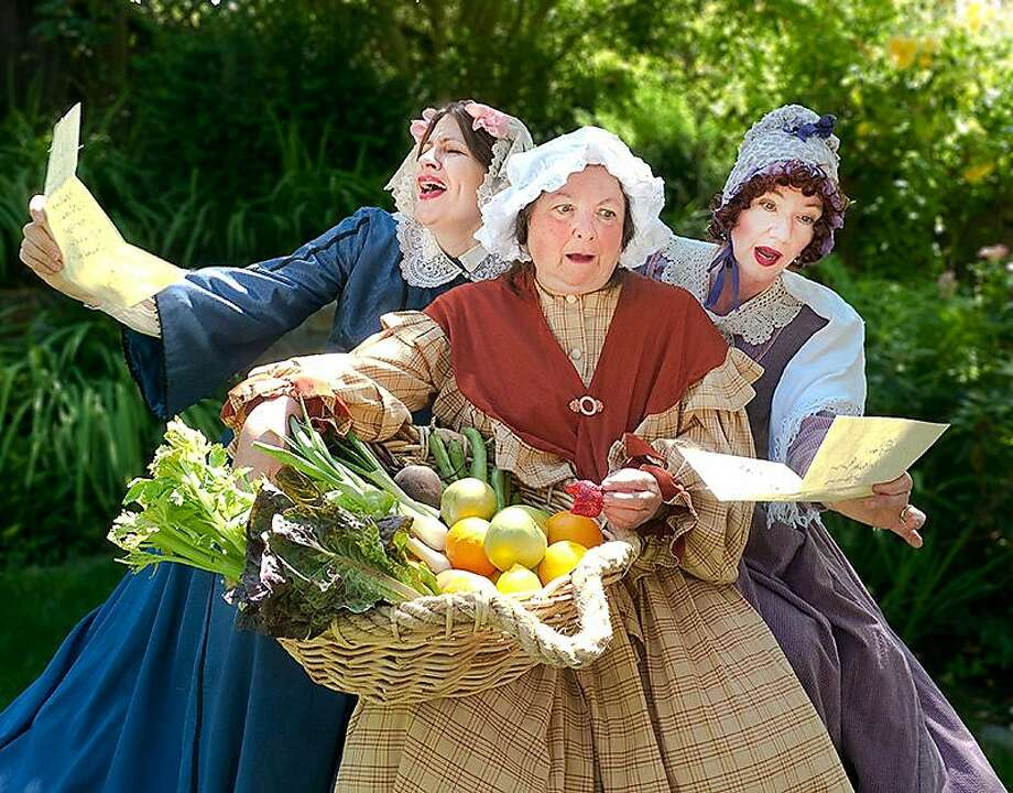 """Left to Right: Vicki Siegel (Mistress Quickly with basket), Heather Cherry (Mistress Page), Patricia Rudd (Mistress Ford) in Curtain Theater's production of """"The Merry Wives of Windsor, playing at 2 p.m. weekends Aug. 27-Sept. 18 at Old Mill Park in Mill Valley. Photo: Russell Johnson"""