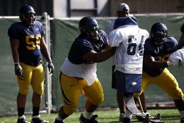 Number 55 Viliami Moala practices with the Cal Bears football team  on Witter Rugby Field above Cal Campus on Wednesday, August 10, 2011 in Berkeley, Calif. Photo: Maddie McGarvey, The Chronicle