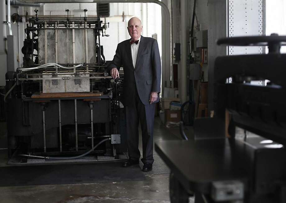 Andrew Hoyem, 75, celebrating 50 years in printing at Arion Press, stands for a portrait in his presidio offices on Thursday January 27, 2011 in San Francisco, Calif. Photo: Mike Kepka, The Chronicle