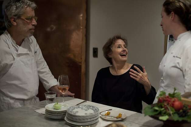 Head Chef David Tanis, Owner Alice Waters and Beth Wells Co-chef in the CafŽ, discuss the evening menu just before the first reservations arrive at Chez Panisse on Thursday August 4, 2011 in Berkeley Calif. Photo: Mike Kepka, The Chronicle