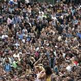 Crowds listen to Foster the People at Outside Lands Music and Art Festival in Golden Gate Park in San Francisco, Calif., August 12, 2011.