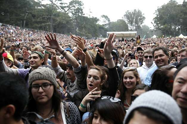 Crowds dance and sing along to Foster the People at Outside Lands Music and Art Festival in Golden Gate Park in San Francisco, Calif., August 12, 2011. Photo: Sarah Rice, Special To The Chronicle