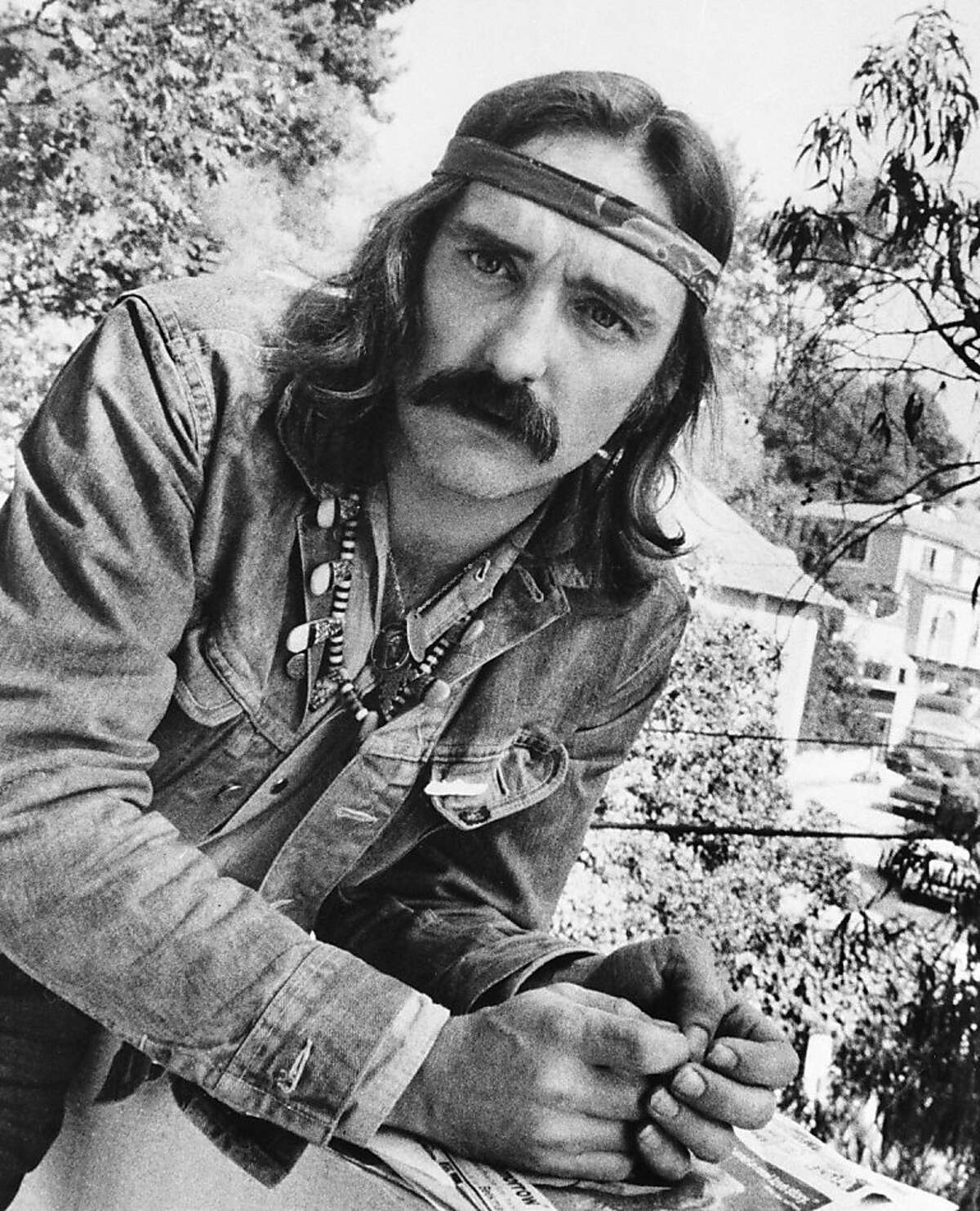 """FILE - In a Oct. 1971 file photo, director-actor Dennis Hopper poses in Hollywood, Ca. Hopper, the Hollywood actor-director whose memorable career included the 1969 smash """"Easy Rider,"""" died Saturday, May 29, 2010 at his Venice, Calif. home. He was 74. (AP Photo, File) Ran on: 05-30-2010 Two years after Easy Rider, Mr. Hopper looked as if he was still on the set of his best-known film."""