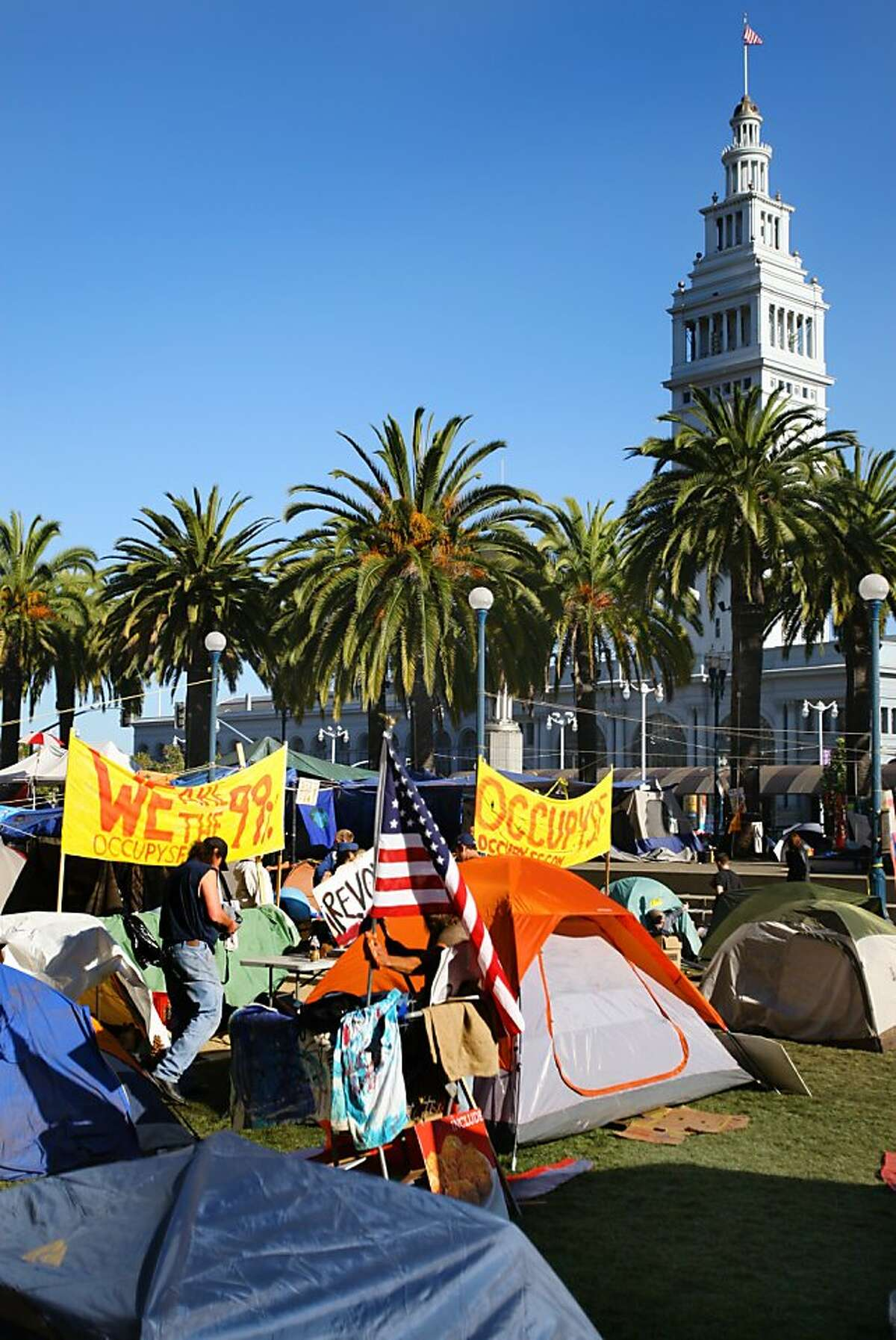 Members of Occupy San Francisco continue their protests in Justin Herman Plaza in San Francisco, Calif., on Sunday, Oct. 30, 2011. Ran on: 10-31-2011 Occupy SF members have taken over the grassy area in Harry Bridges Plaza, just south of Justin Herman Plaza.