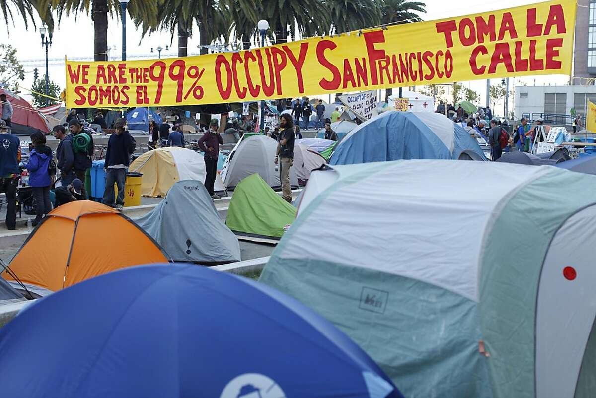 Rows of tents are seen as Occupy San Francisco demonstrators continues to camp in protest of Wall St. at Justin Herman Plaza in San Francisco, Calif. Friday, October 28, 2011.