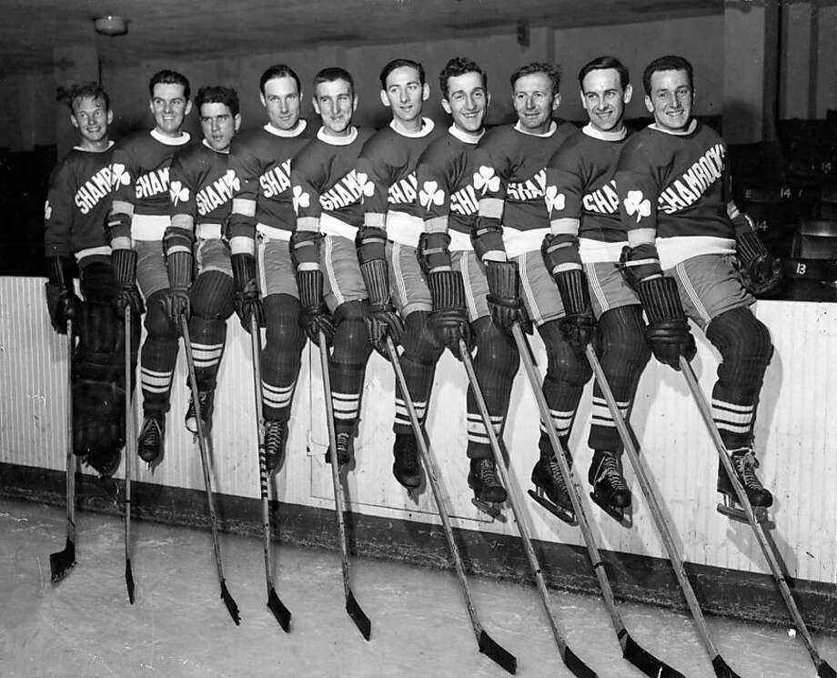 The San Francisco Shamrock ice hockey team. L-R : Bill Gribble, Jack Beauchamp, Herb Sweder, Gene Mott, Robert Maker, George Collins, Larry Silvestri, Frank Nichol, Buford Weber, Alan Langlois  ProductName	Chronicle   Now: Larry Silvestri holds a Santa Rosa Junior College Hall of Fame plaque at his Hayward home. Photo: Courtesy Larry Silvestri