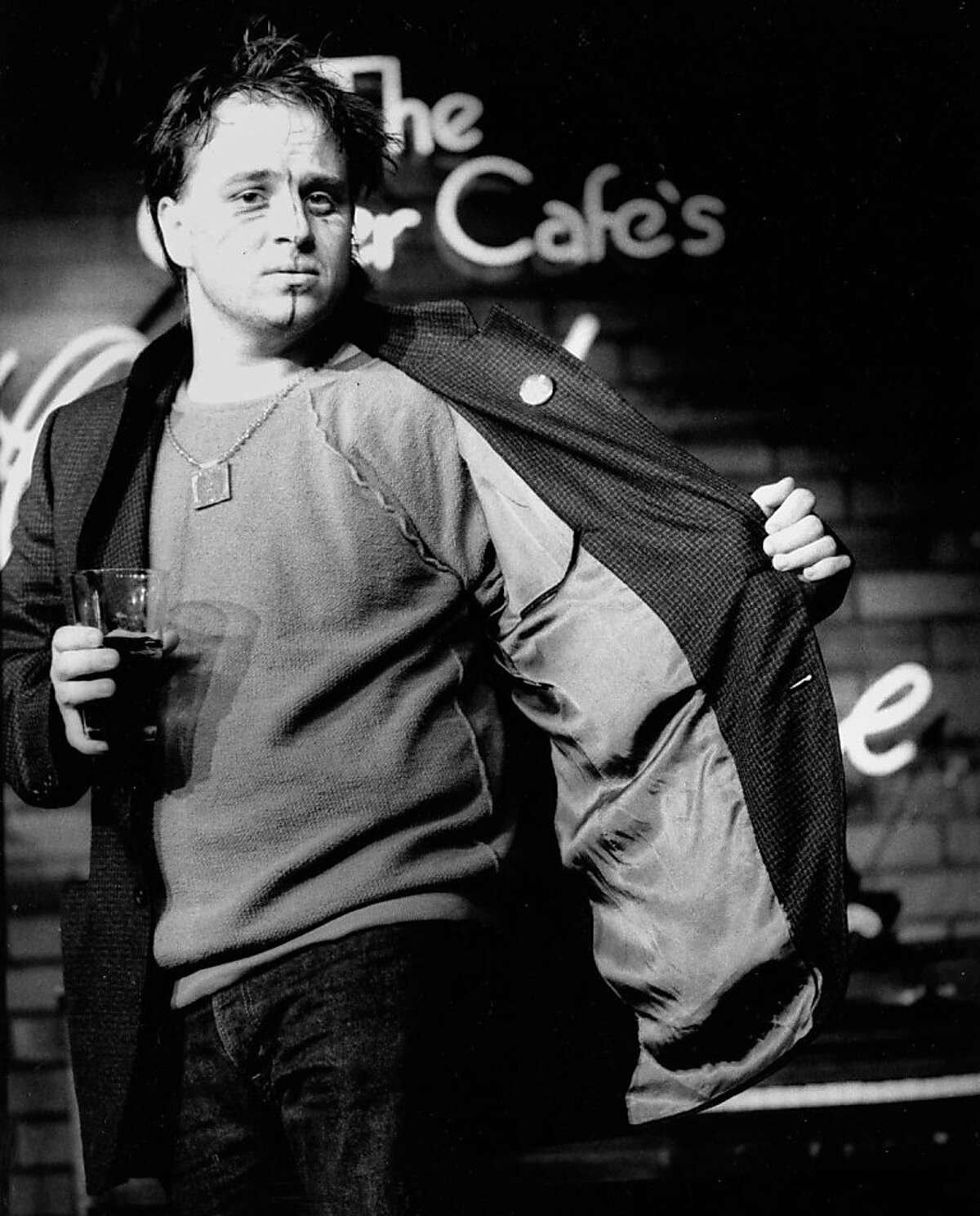 Bob Goldthwait on stage at the Other Cafe. Feb. 8, 1984.