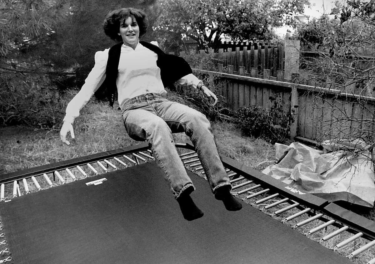 Paula Poundstone on her backyard trampoline in San Francisco. Circa Sept. 23, 1984.