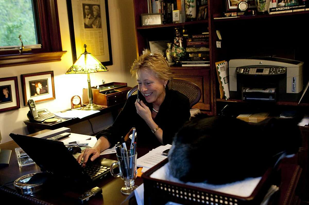 Susan Kennedy, Governor Arnold Schwarzenegger's Chief of Staff, sits at her desk in her office at her home in Fairfax, Calif., on Friday, January 15, 2010. Ran on: 01-24-2010 Susan Kennedy, chief of staff to Gov. Arnold Schwarzenegger and a former top aide to his predecessor Gray Davis, works at home in Fairfax.
