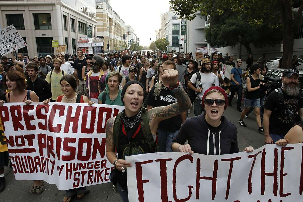 Protesters took to the streets of downtown Oakland, Ca., on Friday October 14, 2011, voicing their concerns for a number of different issues.