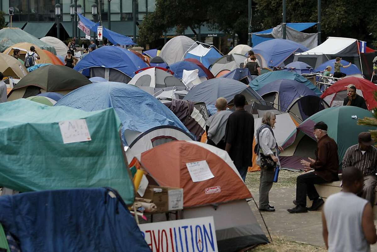 The tent city in front of City Hall in downtown Oakland, Ca., on Friday October 14, 2011, as protesters marched through downtown voicing their concerns for a number of different issues.