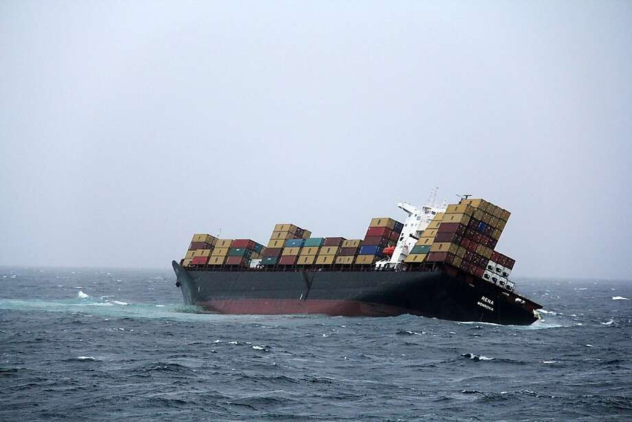 TAURANGA, NEW ZEALAND - OCTOBER 12: In this handout provided by Maritime New Zealand, Fly-over shots of stranded cargo vessel Rena grounded on the Astrolabe Reef, on October 12, 2011 in Tauranga, New Zealand. The 47,000 tonne Rena, a Liberan container vessel, struck a reef on Wednesday causing an oil leak that has spread over five kilometres. Authorities are preparing for the worst environmental disaster in New Zealand history should the vessel break up and spill 1,700 tonnes of fuel into the Bay of Plenty. (Photo by New Zealand Defence Force via Getty Images) Photo: Getty Images