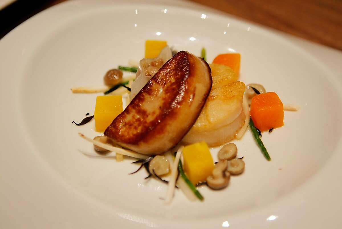 Some of the top chefs in the Bay Area gathered at Michael Mina restaurant in San Francisco, Calif., on Sunday, Oct. 9, 2011. Michael Mina prepared this Dayboat Scallop & Hudson Valley Foie Gras.