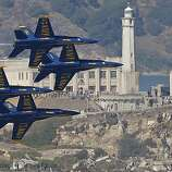 The Navy Blue Angels flying past Alcatraz Island while formation as they practice over San Francsico Bay on Thursday Oct. 9, 2008 in preparation of their performance over the weekend as part of this years' Fleet Week activities.