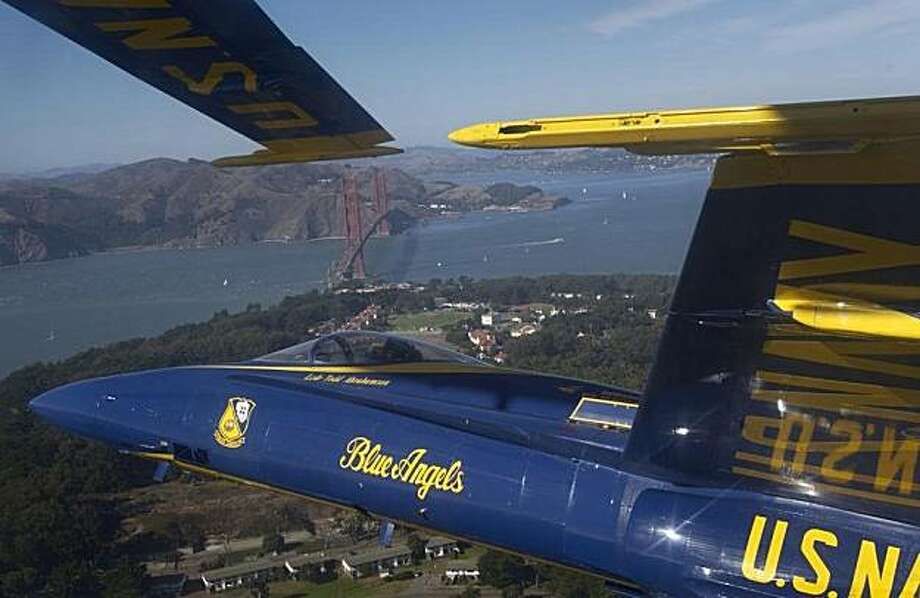 File aerial shot of the Blue Angels flying above San Francisco. Photo: U.S. Navy