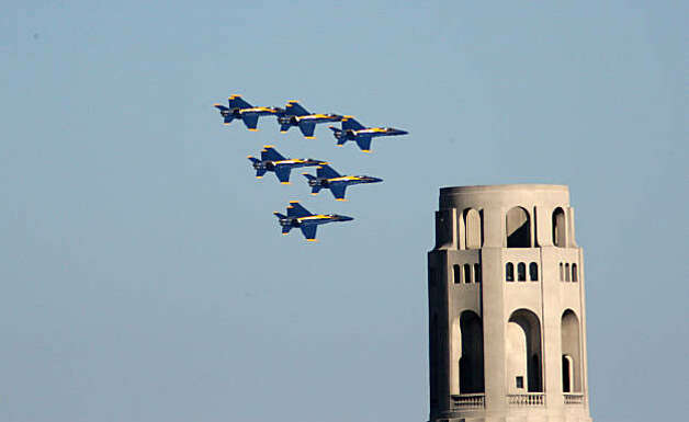 The Blue Angels fly in formation past Coit Tower as part of fleet week festivities in San Francisco, Calif., on Sunday, October 12, 2008.   Ran on: 10-13-2008 The Blue Angels fly in formation past Coit Tower on Telegraph Hill as part of Fleet Week festivities. Ran on: 10-13-2008 The Blue Angels fly past Coit Tower during Fleet Week festivities. Ran on: 10-13-2008  Ran on: 10-13-2008   Ran on: 10-08-2009 The Blue Angels fly in formation past Coit Tower as part of fleet week festivities in San Francisco last year. Photo: Laura Morton, Special To The Chronicle