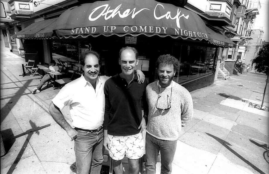 Richard Snow, Chip Romer, and Bob Ayres, owners of comedy club, Other Cafe, are seen in this Chronicle file photo from Sunday, July 13, 1986 in San Francisco, Calif.  The club which is now closed was at Carl and Cole Streets.  Ran on: 09-19-2010 Photo caption Dummy text goes here. Dummy text goes here. Dummy text goes here. Dummy text goes here. Dummy text goes here. Dummy text goes here. Dummy text goes here. Dummy text goes here.###Photo: comedy19_ph51283817600SFC###Live Caption:Richard Snow, Chip Romer, and Bob Ayres, owners of comedy club, Other Cafe, are seen in this Chronicle file photo from Sunday, July 13, 1986 in San Francisco, Calif.  The club which is now closed was at Carl and Cole Streets.###Caption History:Richard Snow, Chip Romer, and Bob Ayres, owners of comedy club, Other Cafe, are seen in this Chronicle file photo from Sunday, July 13, 1986 in San Francisco, Calif.  The club which is now closed was at Carl and Cole Streets.###Notes:###Special Instructions:**MANDATORY CREDIT FOR PHOTOG AND SF CHRONICLE-NO SALES-MAGS OUT-TV OUT-INTERNET: AP MEMBER NEWSPAPERS ONLY** Photo: Steve Ringman, The Chronicle
