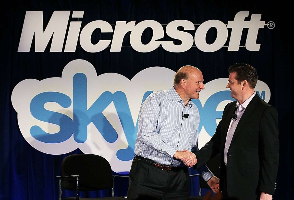 SAN FRANCISCO, CA - MAY 10: Microsoft CEO Steve Ballmer (L) shakes hands with Skype CEO Tony Bates during a news conference on May 10, 2011 in San Francisco, California. Microsoft has agreed to buy Skype for $8.5 billion. (Photo by Justin Sullivan/Getty Images) *** BESTPIX *** Ran on: 05-11-2011 Microsoft CEO Steve Ballmer and Skype CEO Tony Bates discuss the $8.5 billion deal at a news conference in San Francisco. Ran on: 05-11-2011 Microsoft CEO Steve Ballmer and Skype CEO Tony Bates discuss the $8.5 billion deal at a news conference in San Francisco.
