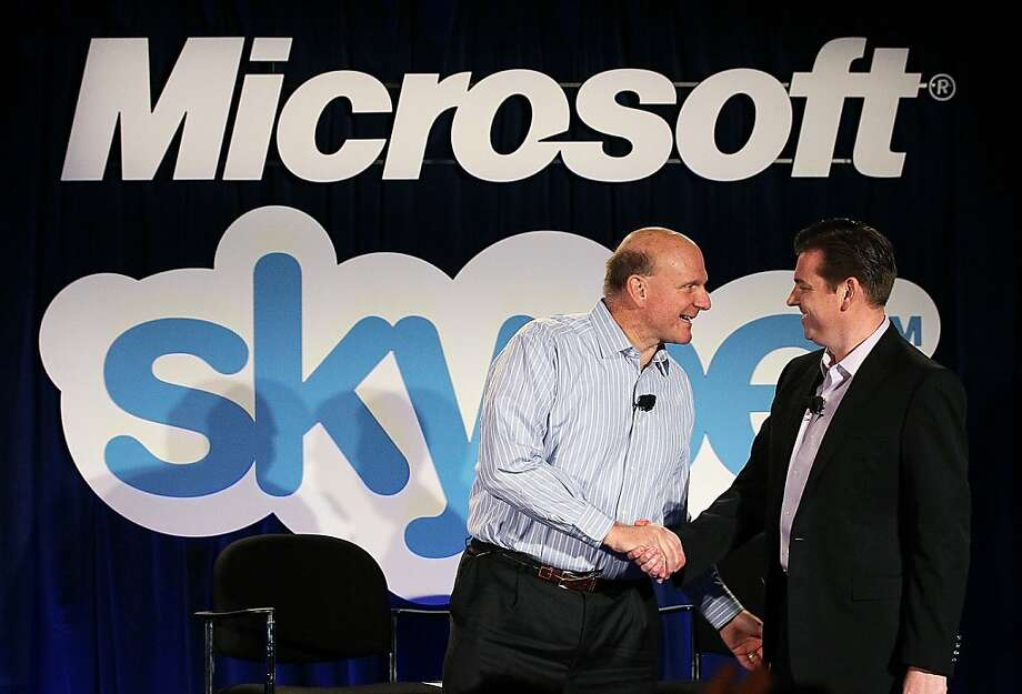 Moving up to 10 to 1, here's then Skype CEO Tony Bates with Ballmer during a news conference on May 10, 2011 to announce that  Microsoft had agreed to buy Skype for $8.5 billion.  Bates is now executive vice president of Microsoft's Business Development and Evangelism group. Photo: Justin Sullivan, Getty Images