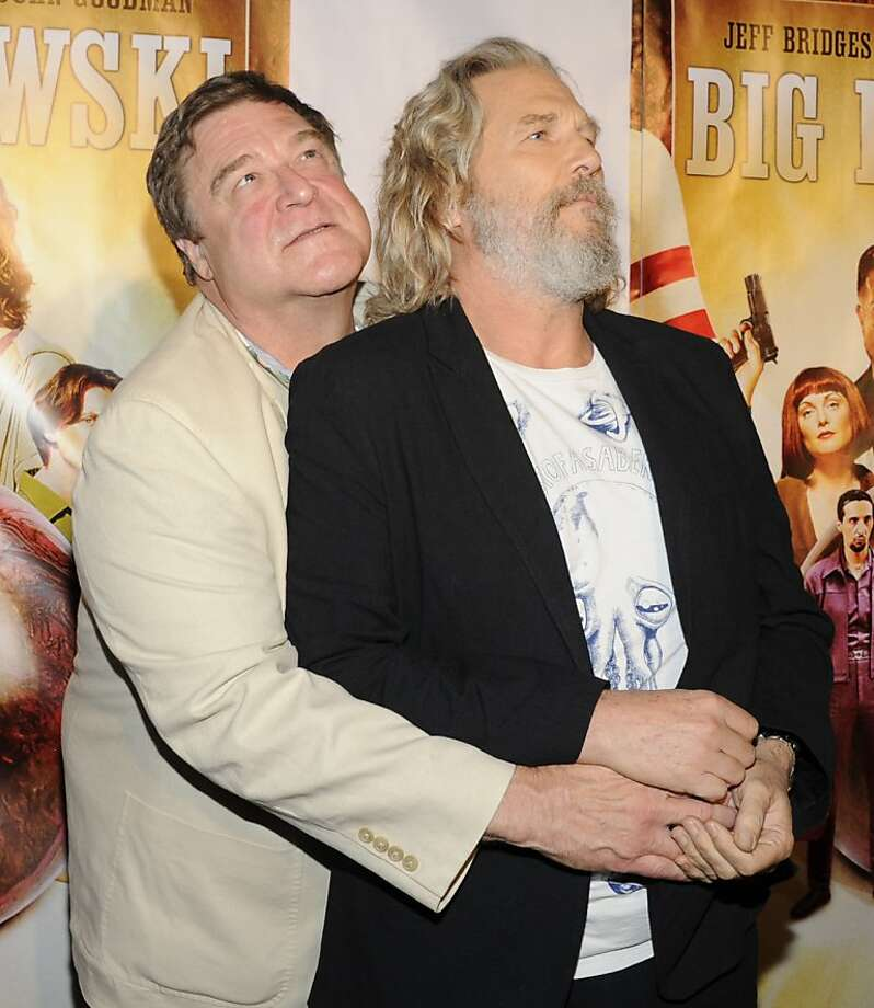 Actors Jeff Bridges, left, and John Goodman attend 'The Big Lebowski' limited edition Blu-Ray DVD launch event at The Hammerstein Ballroom on Tuesday, Aug. 16, 2011 in New York. Photo: Evan Agostini, AP