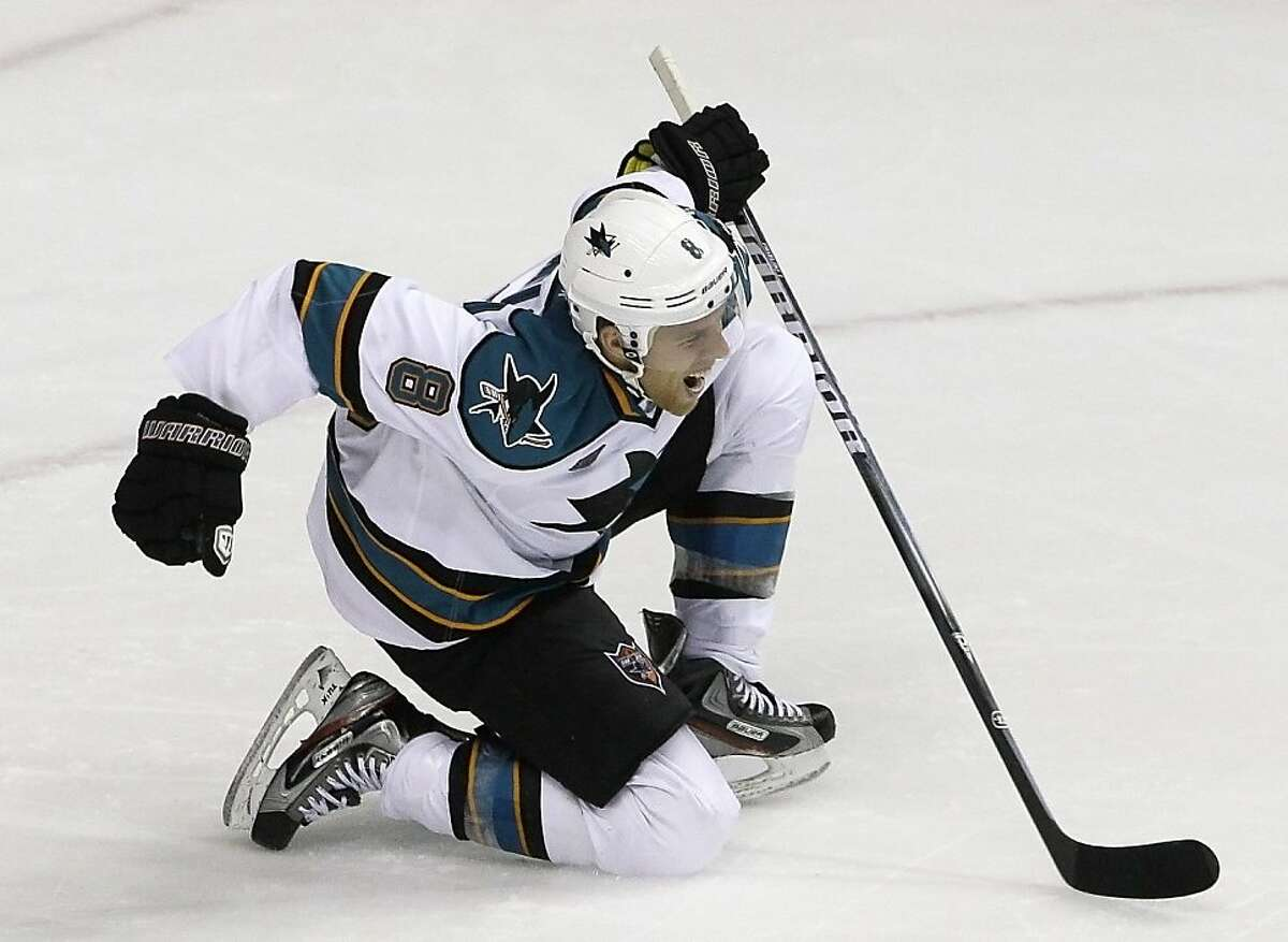 San Jose Sharks center Joe Pavelski celebrates after scoring against the Nashville Predators to give the Sharks a 2-1 lead in the third period of an NHL hockey game on Tuesday, Oct. 25, 2011, in Nashville, Tenn. San Jose won 3-1.(AP Photo/Mark Humphrey) Ran on: 10-26-2011 Sharks center Joe Pavelski celebrates the first of his two goals, the go-ahead score in the third period against Nashville. Ran on: 10-26-2011 Sharks center Joe Pavelski celebrates the first of his two goals, the go-ahead score in the third period against Nashville. Ran on: 11-12-2011 Joe Pavelski emerged in the 2010 playoffs with 17 points in 15 games. Ran on: 11-12-2011 Joe Pavelski emerged in the 2010 playoffs with 17 points in 15 games.