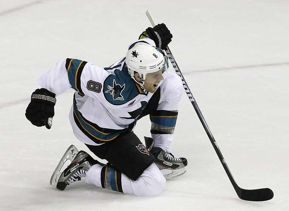 San Jose Sharks center Joe Pavelski celebrates after scoring against the Nashville Predators to give the Sharks a 2-1 lead in the third period of an NHL hockey game on Tuesday, Oct. 25, 2011, in Nashville, Tenn. San Jose won 3-1.(AP Photo/Mark Humphrey)  Ran on: 10-26-2011 Sharks center Joe Pavelski celebrates the first of his two goals, the go-ahead score in the third period against Nashville. Ran on: 10-26-2011 Sharks center Joe Pavelski celebrates the first of his two goals, the go-ahead score in the third period against Nashville. Ran on: 11-12-2011 Joe Pavelski emerged in the 2010 playoffs with 17 points in 15 games. Ran on: 11-12-2011 Joe Pavelski emerged in the 2010 playoffs with 17 points in 15 games. Photo: Mark Humphrey, AP