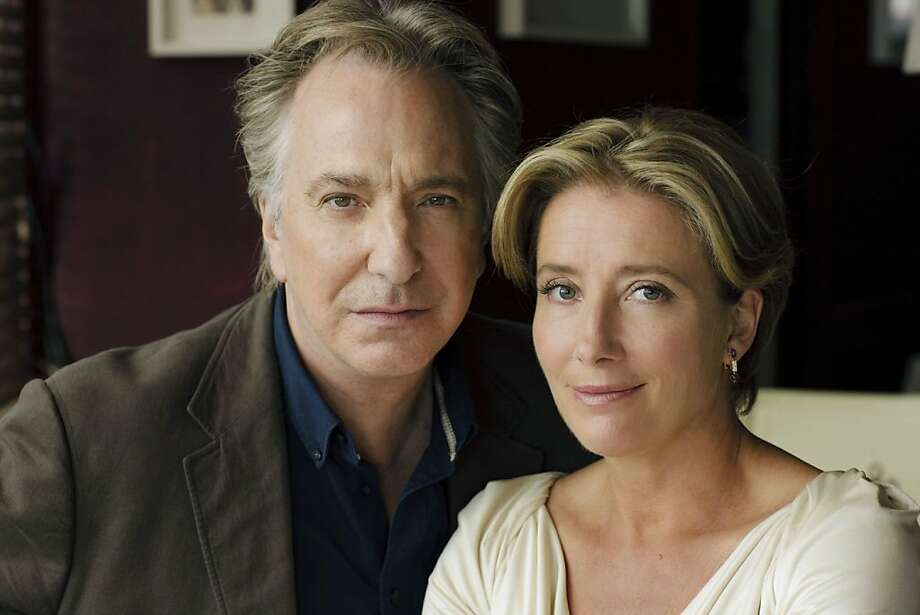 A dramatization of Christopher ReidÕs acclaimed narrative poem, starring Alan Rickman and Emma Thompson as a book editor and his former lover who meet for a nostalgic lunch 15 years after their break-up.  Pictured: Alan Rickman and Emma Thompson Photo: Nick Briggs, BBC