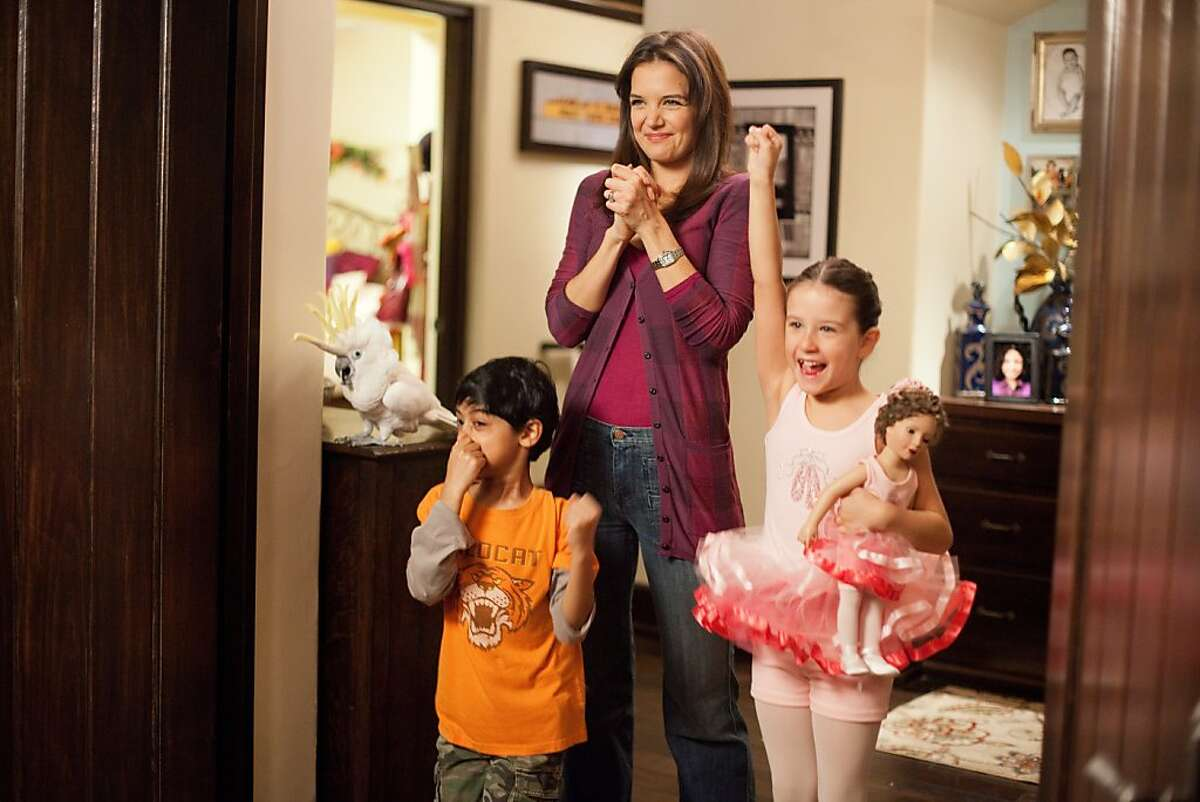 Rohan Chand (Gary), Katie Holmes (Erin) and Elodie Tougne (Sofia) in Columbia Pictures' JACK AND JILL.