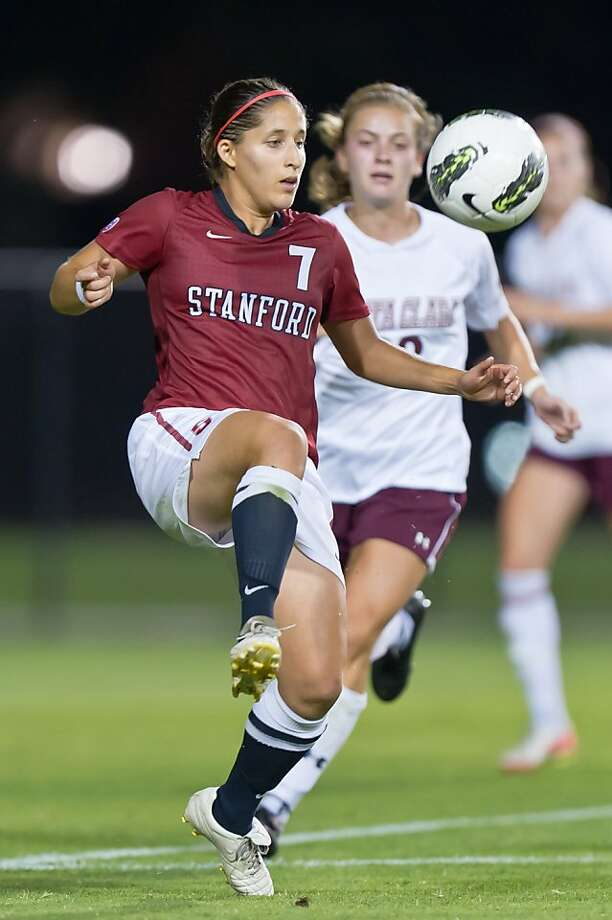 Teresa Noyola and the Stanford women's soccer team defeat Santa Clara 2-0 in a match on September 18, 2011 in Stanford, California. Photo: Jim Shorin, Stanfordphoto.com
