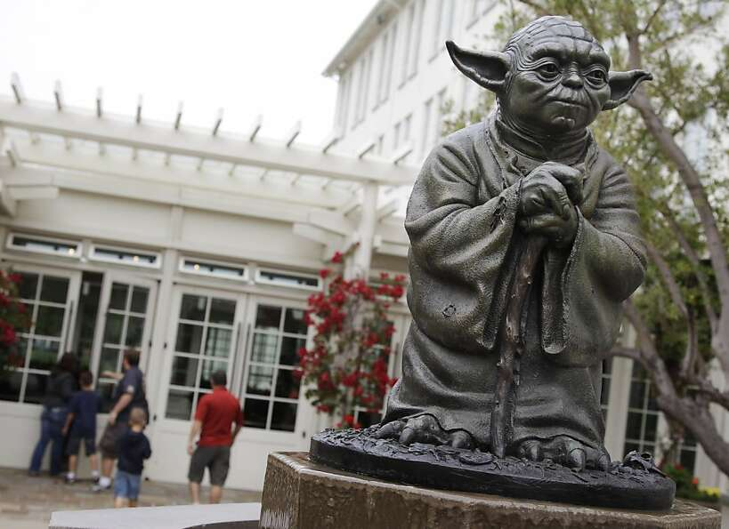In this Aug. 2, 2011 photo, a life-sized replica of Yoda, George Lucas' master of the Force, is sh