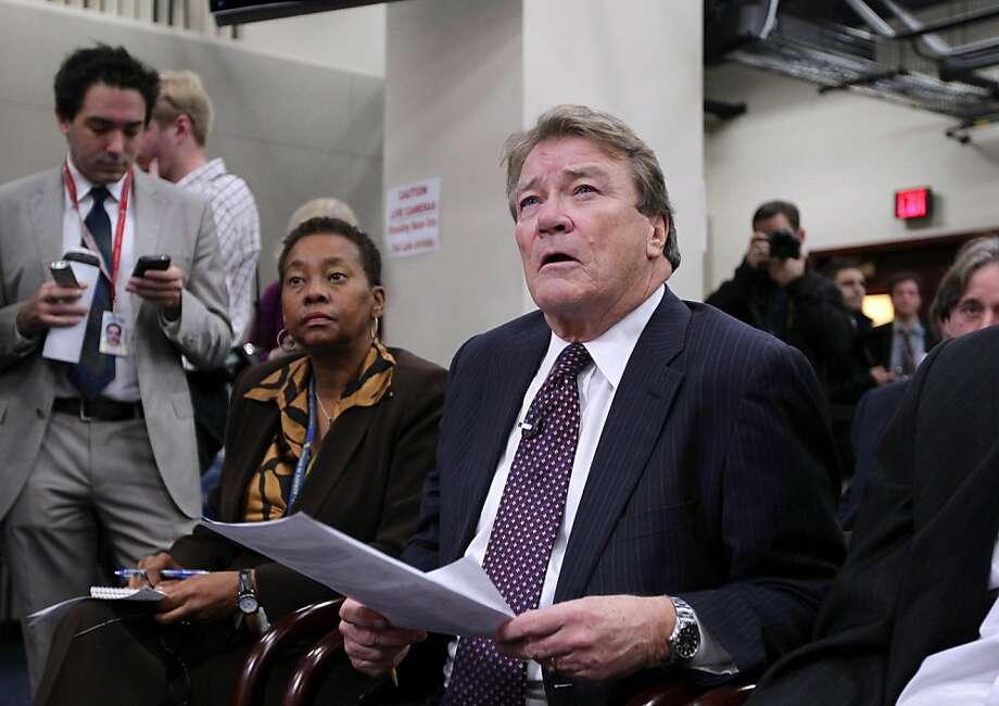 """60 Minutes"" correspondent Steve Kroft questions House Minority Leader Nancy Pelosi of Calif., during a news conference on Capitol Hill in Washington, Thursday, Nov. 3, 2011.  (AP Photo/J. Scott Applewhite) Photo: J. Scott Applewhite, AP"