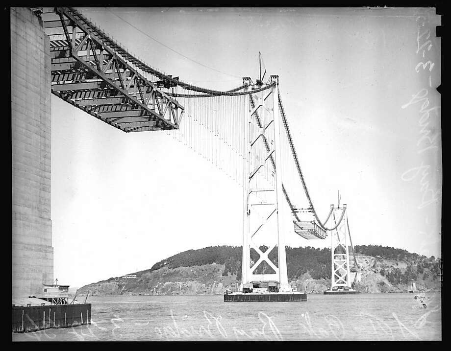 Construction of the original Bay Bridge, 1930's. Photo: The Chronicle