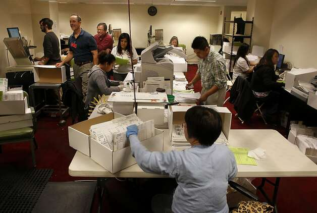 The computer room,  where workers continue to count ballots at the Department of Elections office in City Hall in San Francisco, Ca., on Wednesday November 09, 2011. Photo: Michael Macor, The Chronicle